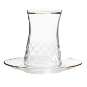 Pino Altın Çay Takımı (6 Çay Bardağı + 6 Çay Tabağı )