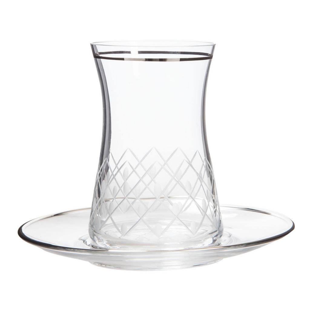 Pino Platin Çay Takımı (6 Çay Bardağı + 6 Çay Tabağı